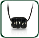 Finely carved black Jade barrel bead on plaited lacing is ideal as both a man's or woman's jewellery piece.