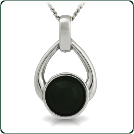 Open teardrop silver pendant enhanced by a choice of black Jade.