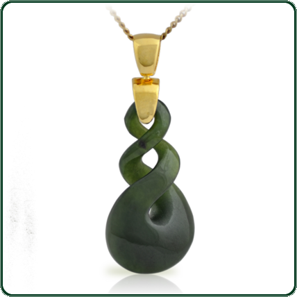 Eye-catching carved twist pendant in green Nephrite Jade on gold bale and chain.