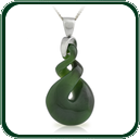 Eye-catching carved twist pendant in green Nephrite Jade on silver bale and chain.