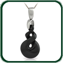 Eye-catching carved twist pendant in black Nephrite Jade on silver bale and chain.