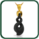 Traditionally inspired contemporary twist design pendant in Australian black Jade on gold bale and chain.