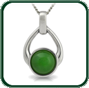 Open teardrop silver pendant enhanced by a choice of green Jade.