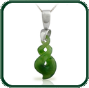 Traditionally inspired contemporary twist design pendant in green Jade on silver bale and chain.