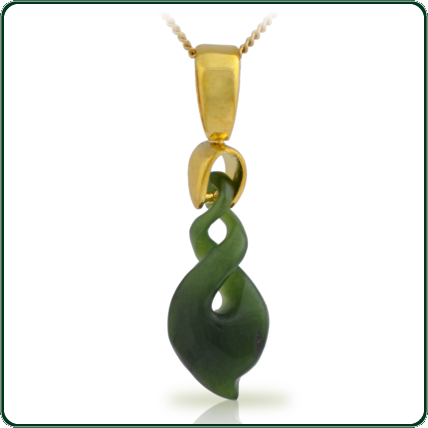 Traditionally inspired contemporary twist design pendant in green Jade on gold bale and chain.
