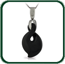 Single twist motif pendant in black Jade featuring choice of silver bale and chain.