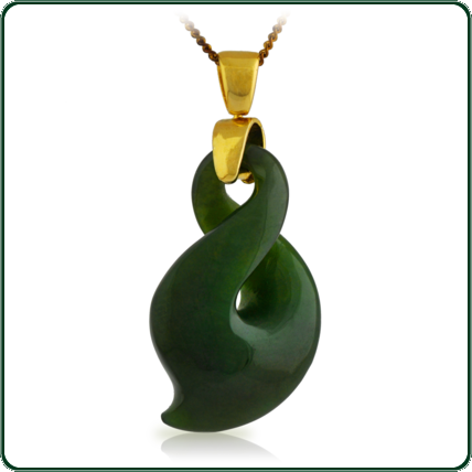 Single twist motif pendant in green Jade featuring choice of gold bale and chain.