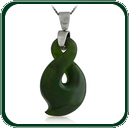 Single twist motif pendant in green Jade featuring choice of silver bale and chain.