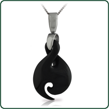Inspired by the traditional New Zealand Jade twist and hook design, this pendant is available in dark Jade on a delicate silver necklace.