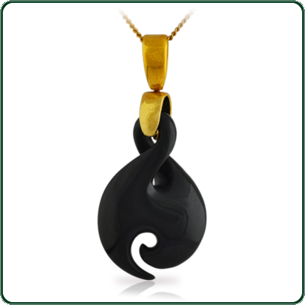 Inspired by the traditional New Zealand Jade twist and hook design, this pendant is available in dark Jade on a delicate gold necklace.