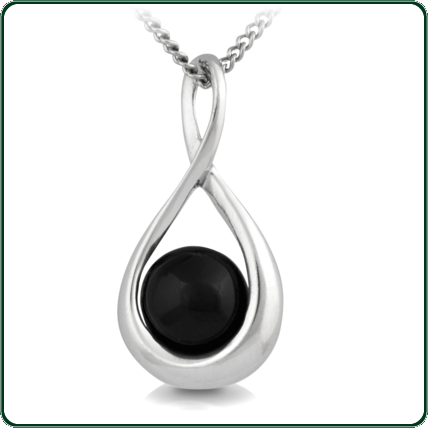 Swirled silver and black Jade pendant evoking care and maternity.