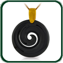 Elegant coil spiral design pendant in black Jade on gold chain.
