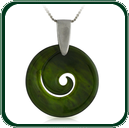 Elegant coil spiral design pendant in green Jade on silver chain.
