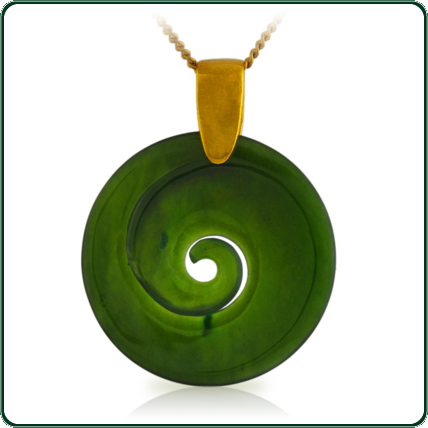 Elegant coil spiral design pendant in both green and black Jade on gold chain.