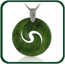 A delicate Koru-style design in green Jade on choice of silver settings.
