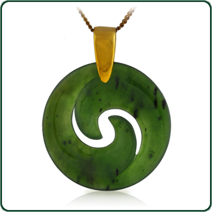 A delicate Koru-style design in green Jade on choice of gold settings.