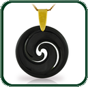 A delicate Koru-style design in black Jade on choice of gold settings.