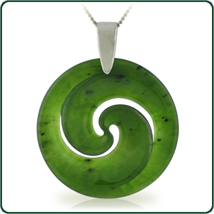 Based on the New Zealand Koru design, this carved pendant is available in green Jade and features silver bale and necklet.
