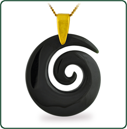 Simple spiral coil pendant delicately carved from black Jade and enhanced with a fine gold necklace.