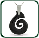 Modern style spiral pendant carved from choice of black Nephrite Jade and featuring a fine silver bale and neck chain.