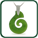 Modern style spiral pendant carved from choice of green Nephrite Jade and featuring a fine silver bale and neck chain.