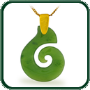 Modern style spiral pendant carved from choice of green Nephrite Jade and featuring a fine gold bale and neck chain.