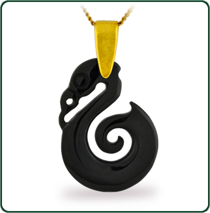 Distinctive seahorse amulet pendant in black Jade beneath a gold bale and necklace.