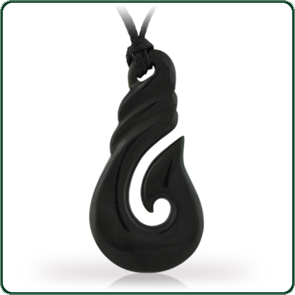 Traditional style fish hook design pendant carved in black Jade and featuring a plaited twine lacing.