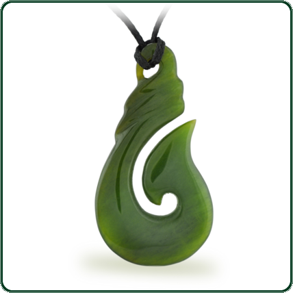 Customary fish hook style green Jade pendant with plaited lacing.