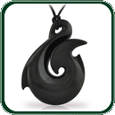 Bold black Jade carved fishhook amulet on plaited lacing. Ideal Jade gift for men.
