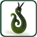 Inspired by traditional manaia design of New Zealand, this craved Jade pendant is available in green Nephrite Jade.