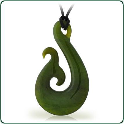 This green Jade pendant's traditional design is said to represent the harmony between sky, earth and water.