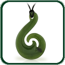 Elegant, nature inspired Jade pendant based on traditional amulet design available in green Jade.
