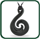Elegant, nature inspired Jade pendant based on traditional amulet design available in black Cowell Jade.