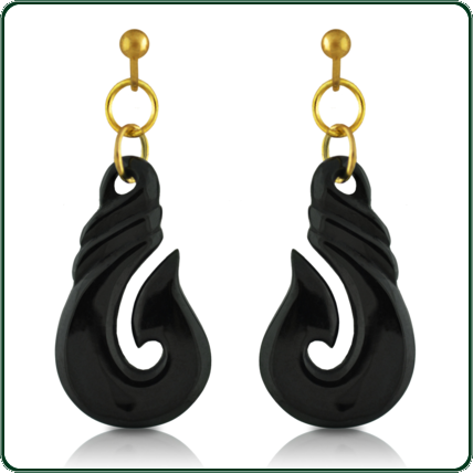 Reflecting the traditional fish hook design, these black Jade earrings feature fine gold accoutrements.