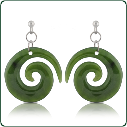 Available in green Jade, these simple earrings are a perfect complement to the spiral coil pendants.