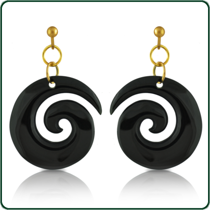 Available in dark Jade, these simple earrings are a perfect complement to the spiral coil pendants.
