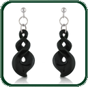 These silver and black Jade earrings match the traditional Jade twist pendants.