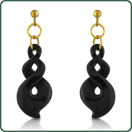 These gold and black Jade earrings match the traditional Jade twist pendants.