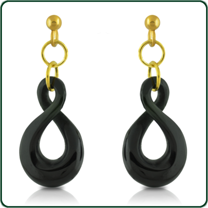Carved from black Jade, the simple twist dangle earrings complement the twist pendant (item GP510525) to create a matching jewellery set.