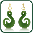 Inspired by traditional South Pacific amulets, these pendant earrings are available in green Jade and a choice of gold settings.
