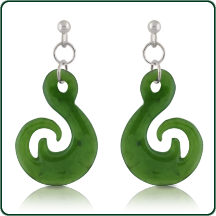 Inspired by traditional South Pacific amulets, these pendant earrings are available in green Jade and a choice of silver settings.
