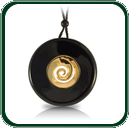 Minimalist black Jade roundel centred with a flirtatious curl in gold on plaited lacing, this pendant will create a truly lasting impression.