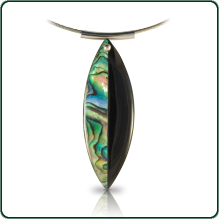 Mystical and intriguing black Jade leaf pendant with Paua shell segment mounted on iron chain.