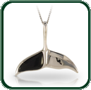 Beautifully understated, this silver and Jade whale-tail pendant makes an ideal gift for any woman.