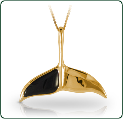 This stylish whale-tile pendant combines the lustre of gold and the allure of silky black Jade.