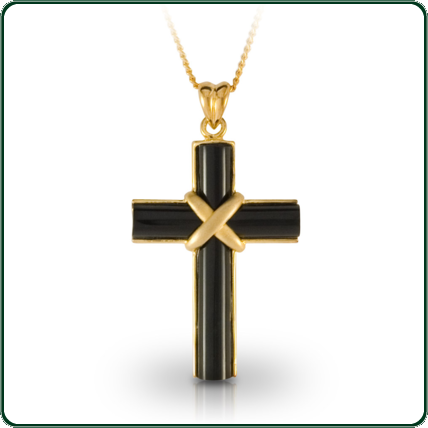 A black Jade cross, mounted on gold provides an elegant symbol of faith and devotion.