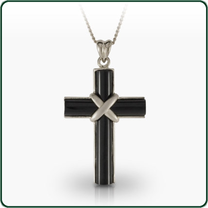 Simple yet unique, this silver and black Jade crucifix creates a subtle yet profound display of one's devotion.