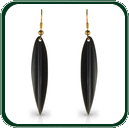 These traditionally - styled leaf earrings display a delicate green lustre at the fine ends of the pendants.