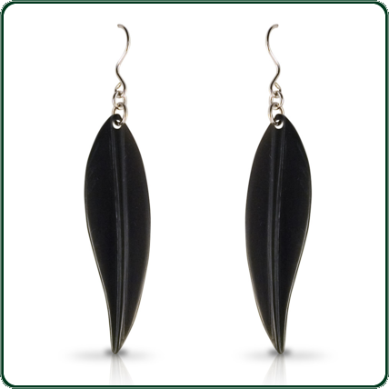 Mounted on silver, these leaf-shaped black Jade pendant earrings are highly adaptable with their translucent colours ranging from black to bottle green.